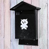 Ящик почтовый с щеколдой, вертикальный «Домик», чёрный, фото 3