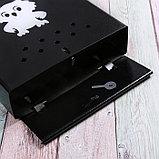 Ящик почтовый с щеколдой, вертикальный «Домик», чёрный, фото 4
