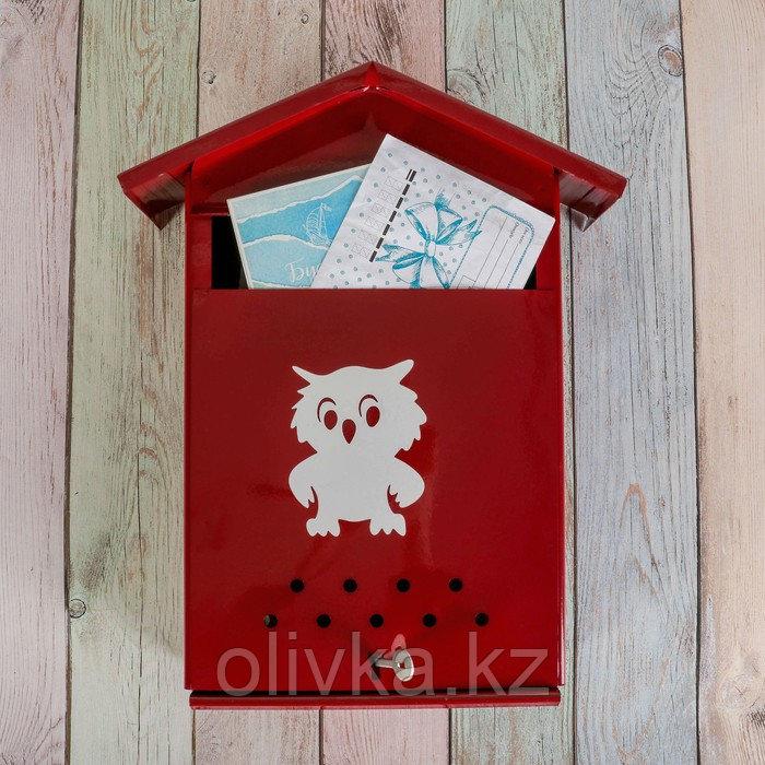 Ящик почтовый с щеколдой, вертикальный «Домик», бордовый