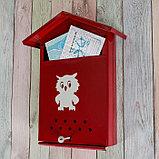 Ящик почтовый с щеколдой, вертикальный «Домик», бордовый, фото 2