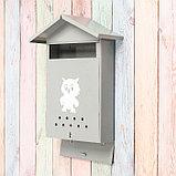 Ящик почтовый с щеколдой, вертикальный «Домик», серый, фото 3