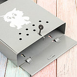 Ящик почтовый с щеколдой, вертикальный «Домик», серый, фото 4