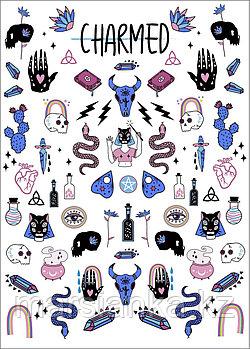"""Слайдер дизайн Moonshine Nails """"Charmed синяя (big set)"""""""