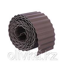 Лента бордюрная, 0.1 × 9 м, толщина 0,6 мм, пластиковая, гофра, тёмно-коричневая