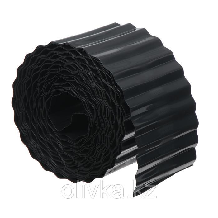 Лента бордюрная, 0.1 × 9 м, толщина 0.6 мм, пластиковая, гофра, чёрная
