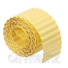 Лента бордюрная, 0.1 × 9 м, толщина 0.6 мм, пластиковая, гофра, жёлтая