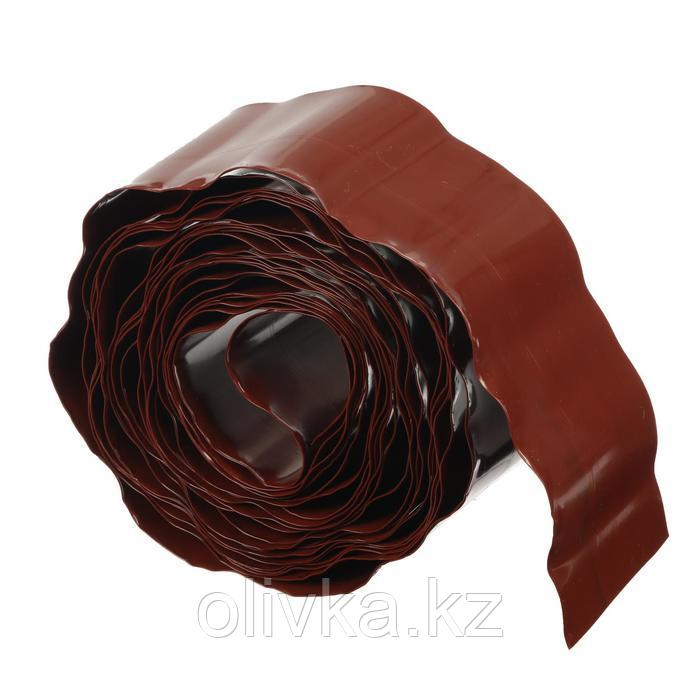 Лента бордюрная, 0.1 × 9 м, толщина 0.6 мм, пластиковая, гофра, терракотовая