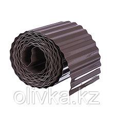 Лента бордюрная, 0.15 × 9 м, толщина 0.6 мм, пластиковая, гофра, темно-коричневая