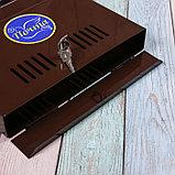 Ящик почтовый с замком, горизонтальный «Широкий», коричневый, фото 4