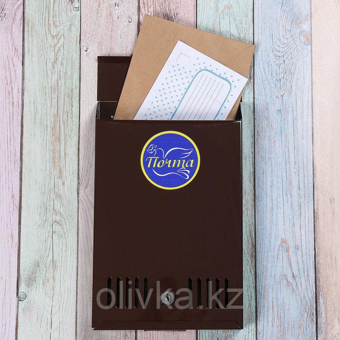 Ящик почтовый с замком, вертикальный, коричневый