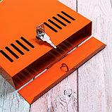 Ящик почтовый с замком, вертикальный, оранжевый, фото 4