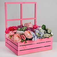 Кашпо флористическое с окном «Розовое счастье», 35 х 30 х 42(12) см