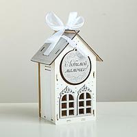 """Коробка деревянная, 13.5×11.5×21 см """"Любимой мамочке!"""", подарочная упаковка, белый"""