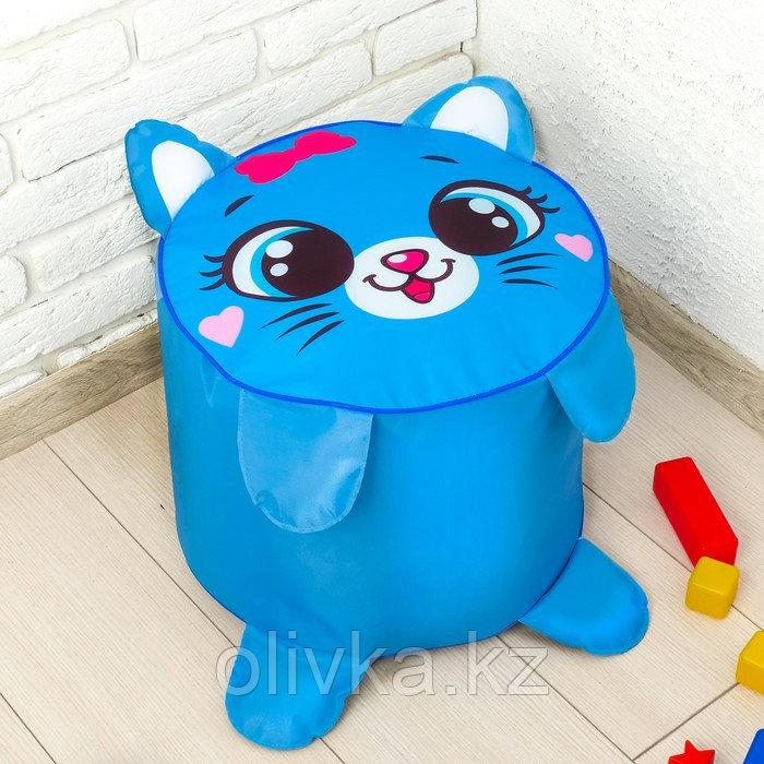 Мягкая игрушка «Пуфик: Кот» 40см × 40см, цвет голубой