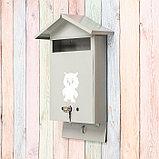 Ящик почтовый с замком, вертикальный, «Домик», серый, фото 3