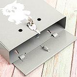 Ящик почтовый с замком, вертикальный, «Домик», серый, фото 4