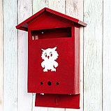 Ящик почтовый с замком, вертикальный, «Домик», вишнёвый, фото 3