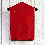 Ящик почтовый с замком, вертикальный, «Домик», вишнёвый, фото 4