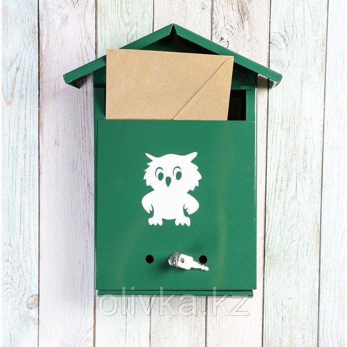 Ящик почтовый с замком, вертикальный, «Домик», зелёный