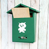 Ящик почтовый с замком, вертикальный, «Домик», зелёный, фото 2
