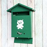 Ящик почтовый с замком, вертикальный, «Домик», зелёный, фото 3
