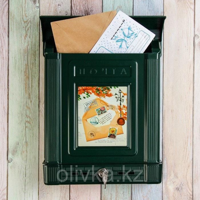 Ящик почтовый, пластиковый, «Декор», с замком, зелёный