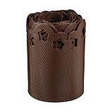 Лента бордюрная, 0.2 × 9 м, толщина 1.2 мм, пластиковая, фигурная, коричневая, фото 2