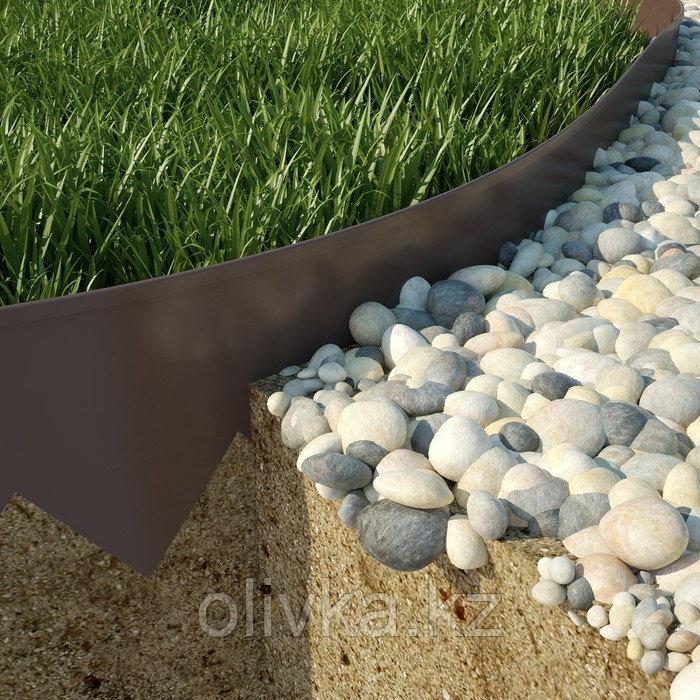 Бордюр для газона, двусторонний, коричневый