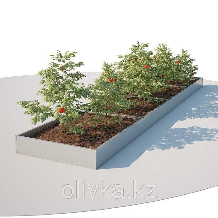Грядка оцинкованная, 198 × 70 × 16 см, серая