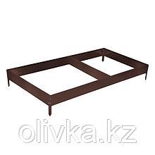 Грядка оцинкованная, 390 × 100 × 15 см, коричневая, Greengo