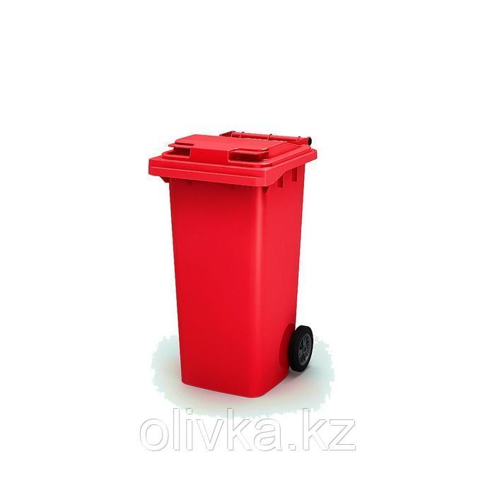 Передвижной мусорный контейнер 120л., МКА-120, 93,7х55,5х48см, красный