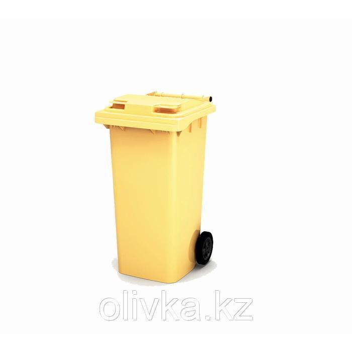 Передвижной мусорный контейнер 120л., МКА-120, 93,7х55,5х48см, желтый