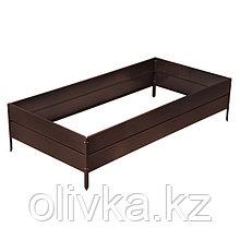Грядка оцинкованная, 195 × 100 × 34 см, коричневая, Greengo