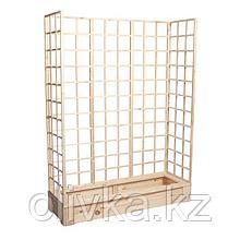 Грядка деревянная, 150 × 50 × 22 см, с тремя шпалерами h = 180 см