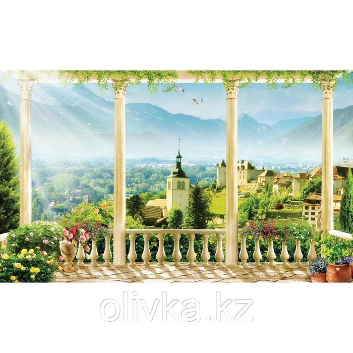 Фотобаннер, 250 × 150 см, с фотопечатью, люверсы шаг 1 м, «Терраса с видом на город»