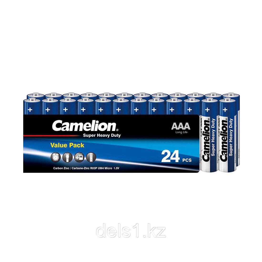 Батарейка, CAMELION, R03P-SP24B, Super Heavy Duty, AAA, 1.5V, 550 mAh, 24 шт. в плёнке
