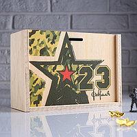 """Коробка подарочная 20×8×14 см деревянная пенал """"23 февраля. Звезда"""", с печатью"""