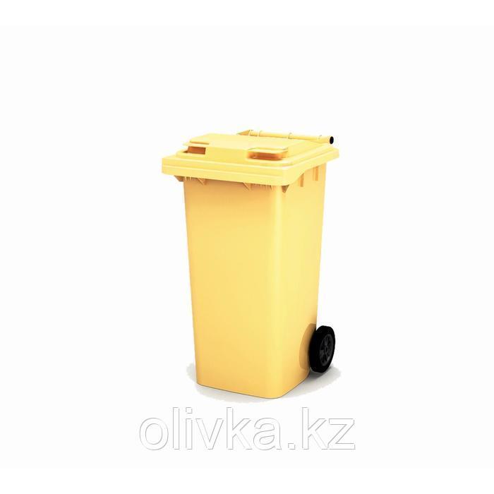 Передвижной мусорный контейнер 240л., МКА-240, 106,9х72,1х58,2см, желтый