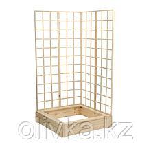 Грядка деревянная, 100 × 100 × 22 см, с двумя шпалерами h = 180 см