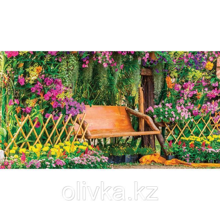 Фотобаннер, 300 × 160 см, с фотопечатью, люверсы шаг 1 м, «Скамейка в цветах»