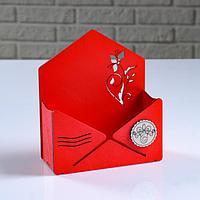 """Кашпо деревянное """"Конверт Летний сад"""", красный, 16×6.8×18.5 см"""