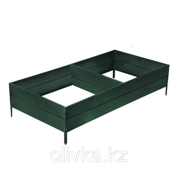 Грядка оцинкованная, 390 × 100 × 34 см, цвет зелёный мох, Greengo