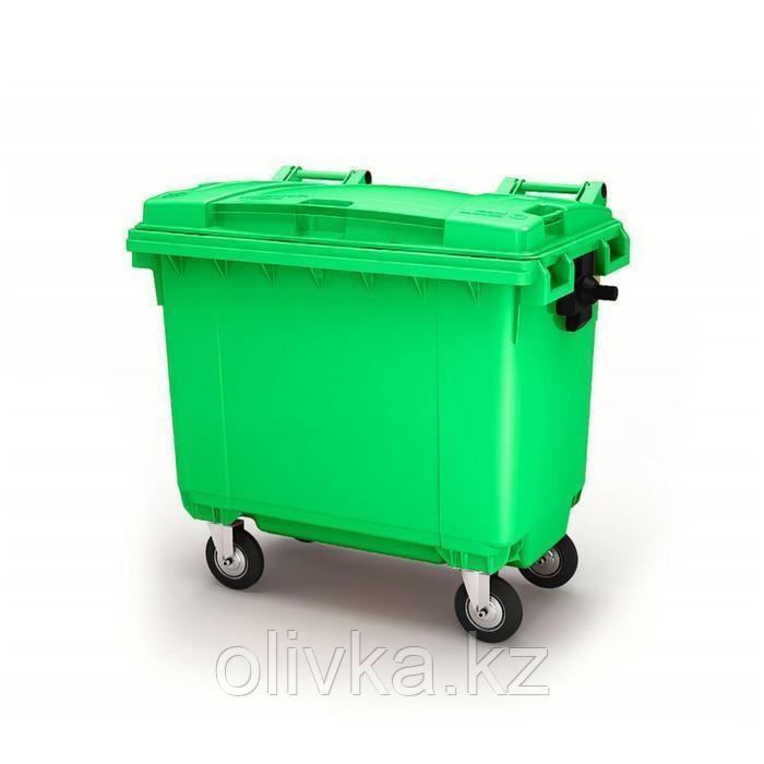 Передвижной мусорный контейнер 660л., МКА-600, 137х78х121,8см, зеленый