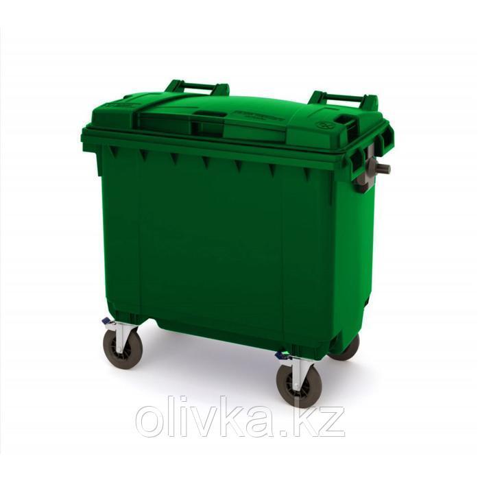 Передвижной мусорный контейнер 770л., МКА-700, 137х78х130см, зеленый