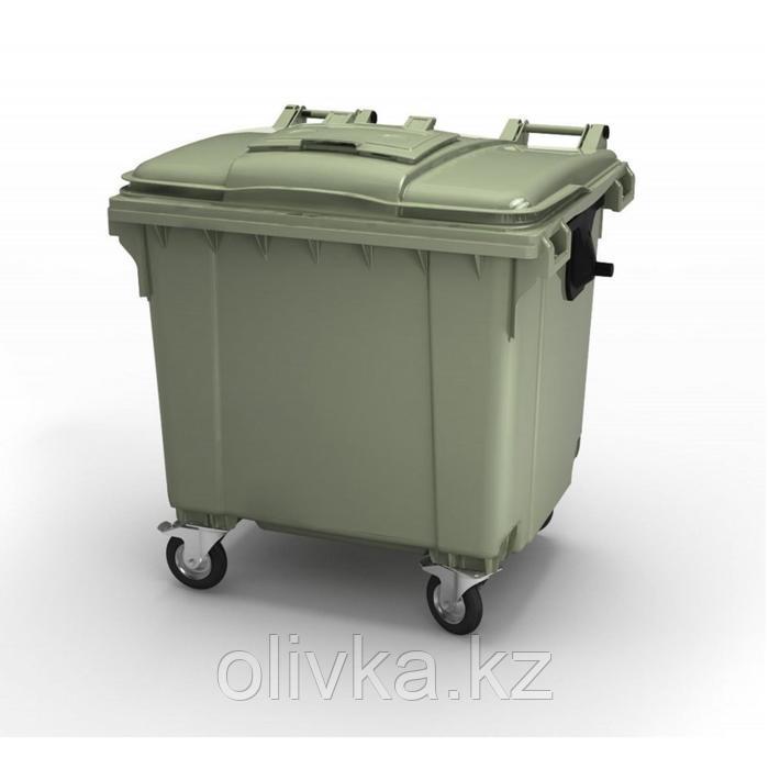 Передвижной мусорный контейнер 1100л., МКА-1100, 137х107,7х139,6см, зеленый