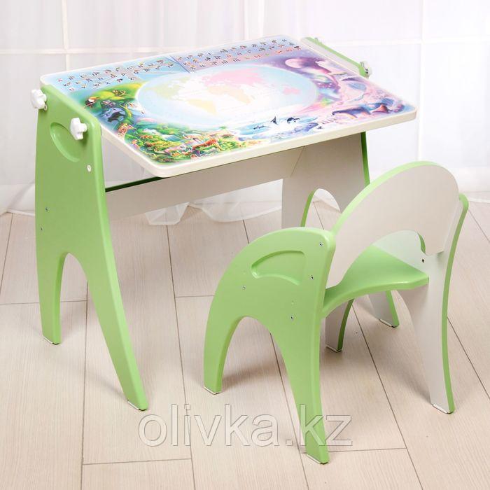 Набор мебели «Части-света»: парта, мольберт, стульчик. Цвет салатовый