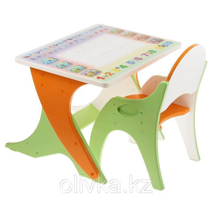 Набор детской мебели «Буквы-цифры»: парта, стул, цвет эвкалипт-оранжевый