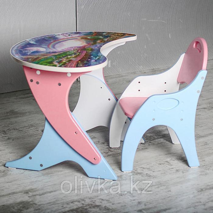 Набор мебели «Космошкола», стол-парта, стул, цвет розово-голубой