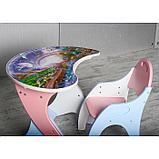 Набор мебели «Космошкола», стол-парта, стул, цвет розово-голубой, фото 4