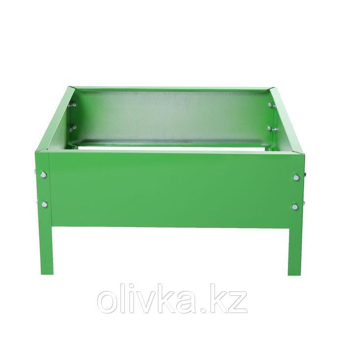 Клумба оцинкованная, 50 × 50 × 15 см, ярко-зелёная, «Квадро», Greengo